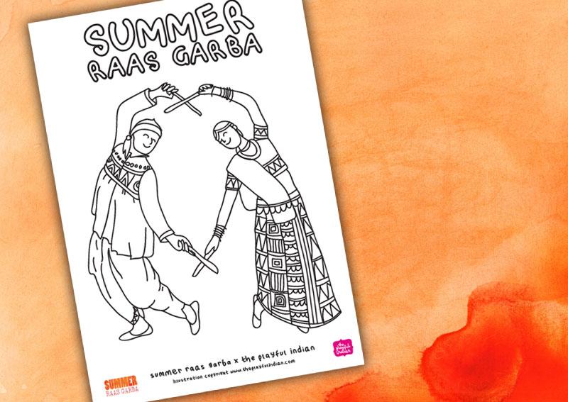 summer raas garba, colouring, playful indian