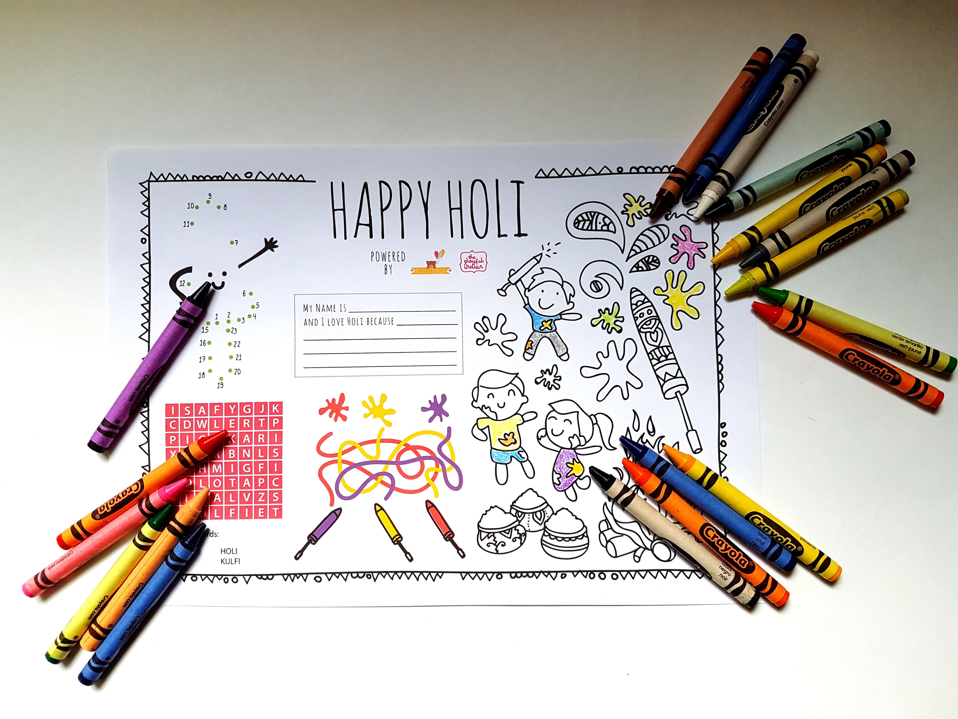 holi colouring page img