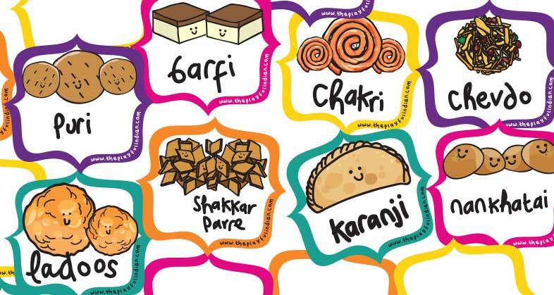 image regarding Printable Food Labels known as Printable Diwali Meals Labels - The Playful Indian