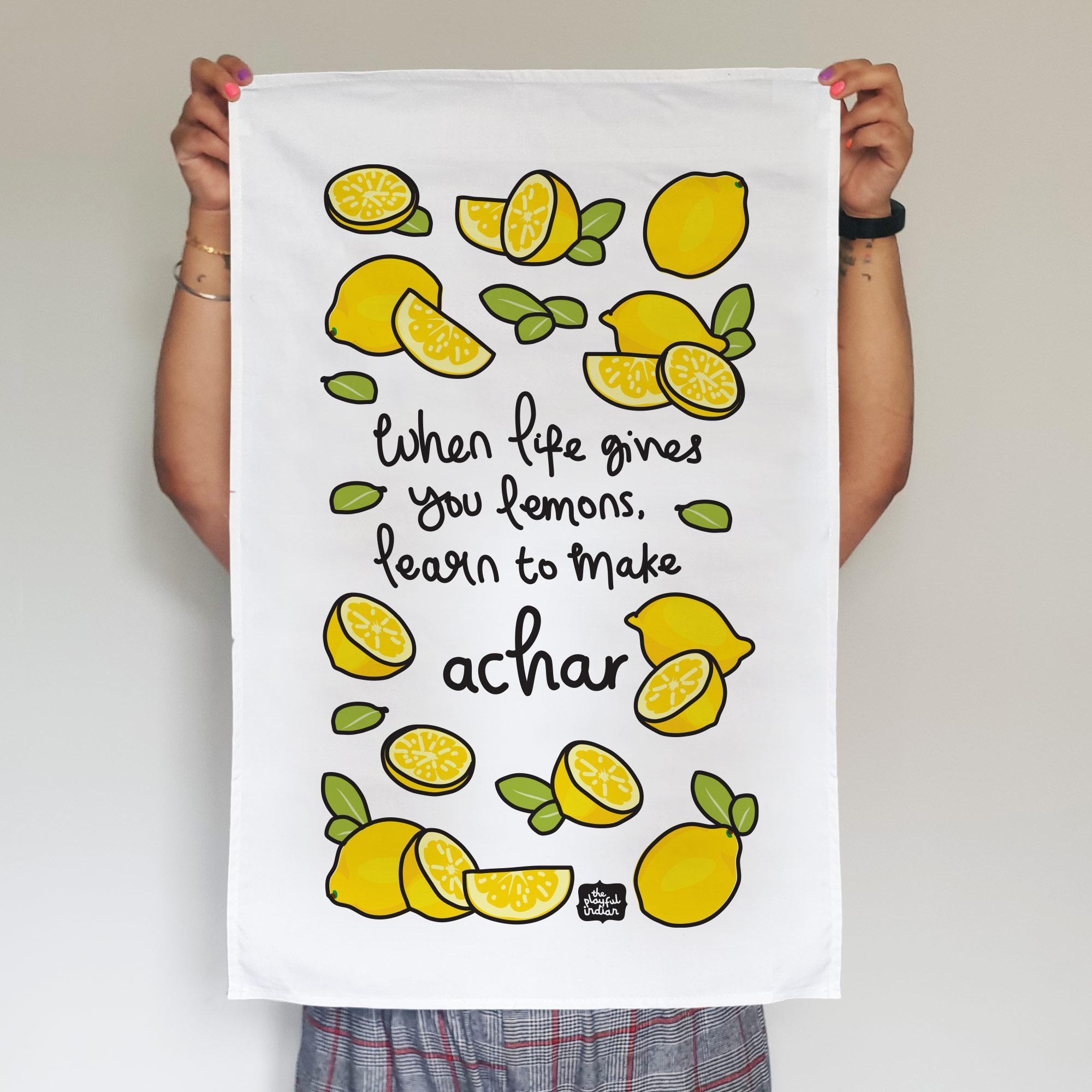 lemon achar tea towel