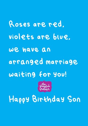 Enjoyable Happy Birthday Son Birthday Card The Playful Indian Personalised Birthday Cards Cominlily Jamesorg