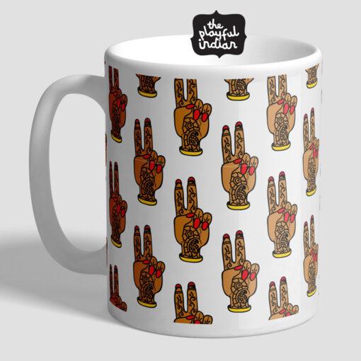 Peace Mehndi Hand Mug