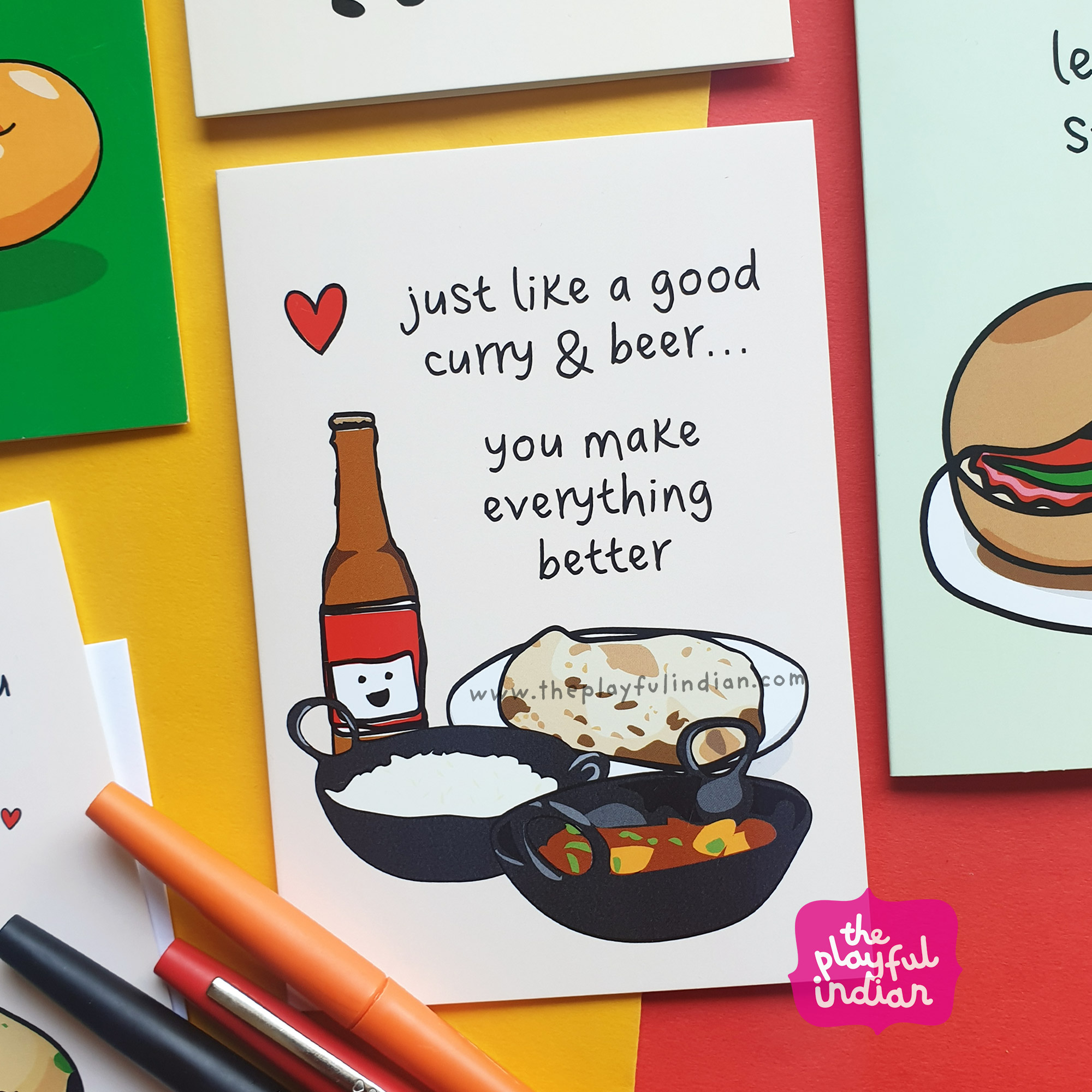 curry and beer asian greeting card