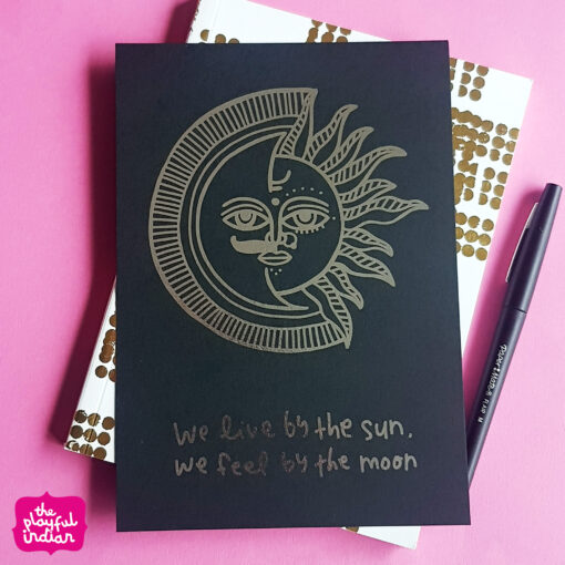 sun and moon Silver Holographic print