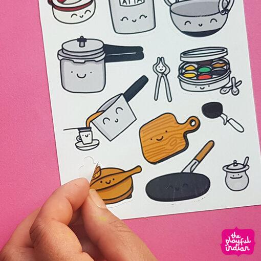 Desi Kitchen Equipment Sticker Sheet