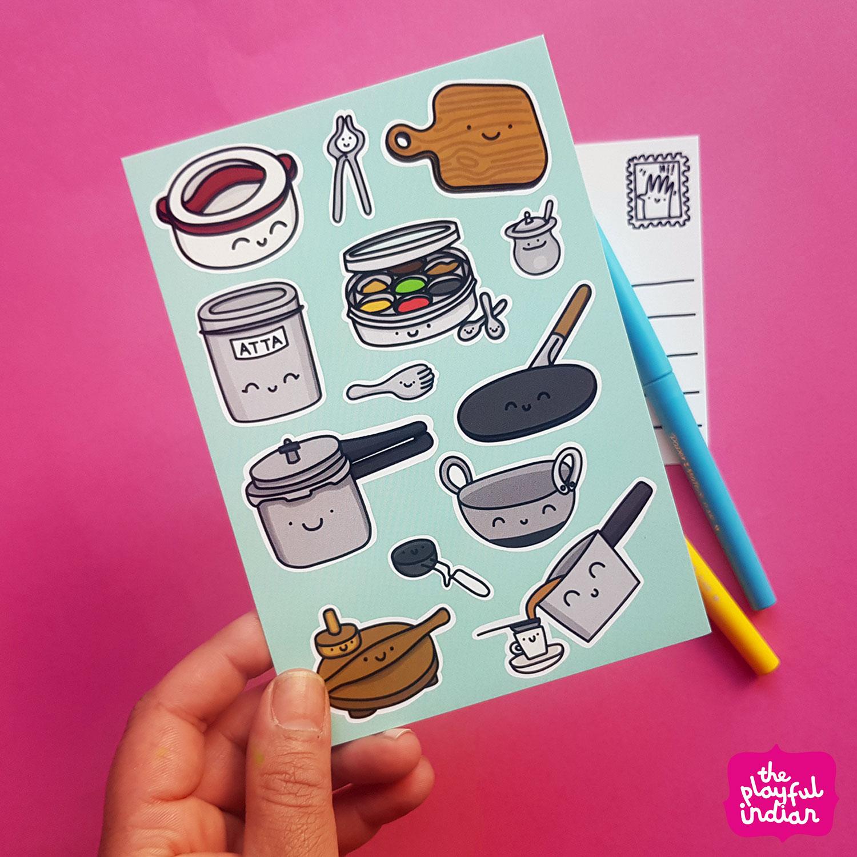 Desi Kitchen Equipment Postcard