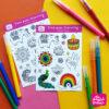 colouring sticker sheet