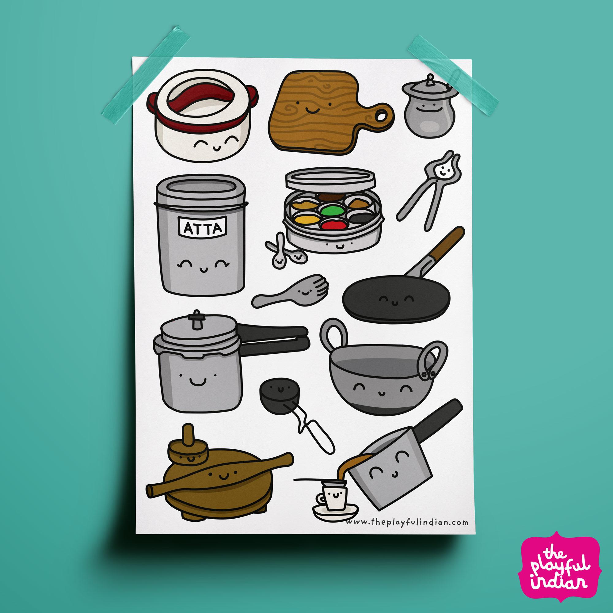 desi kitchen equipment print