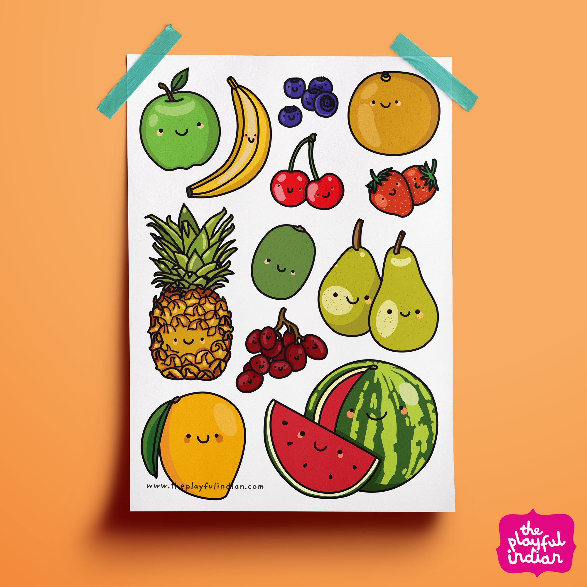 Happy Fruits Print