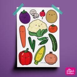 Happy Veggies Print
