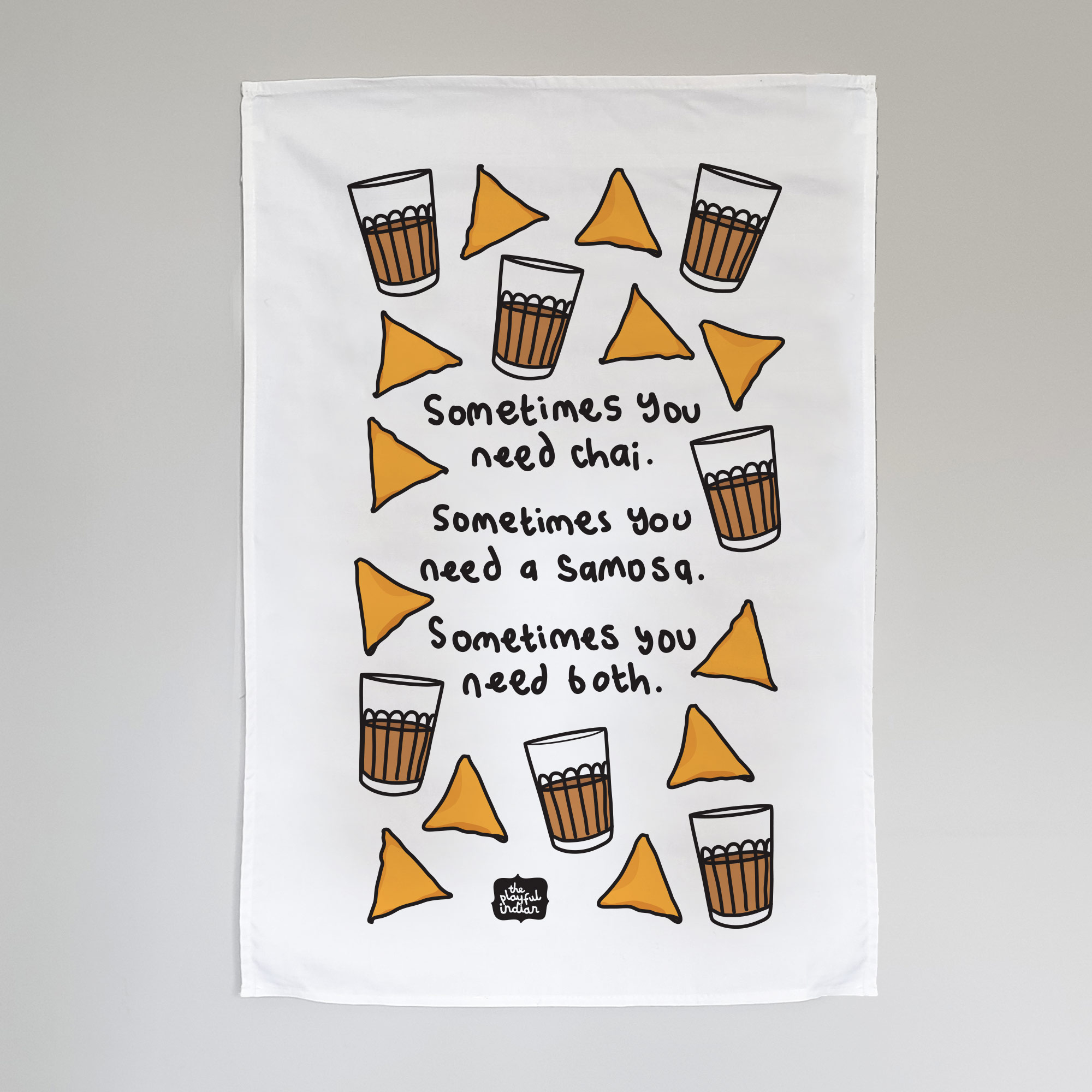 chai and samosa tea towel