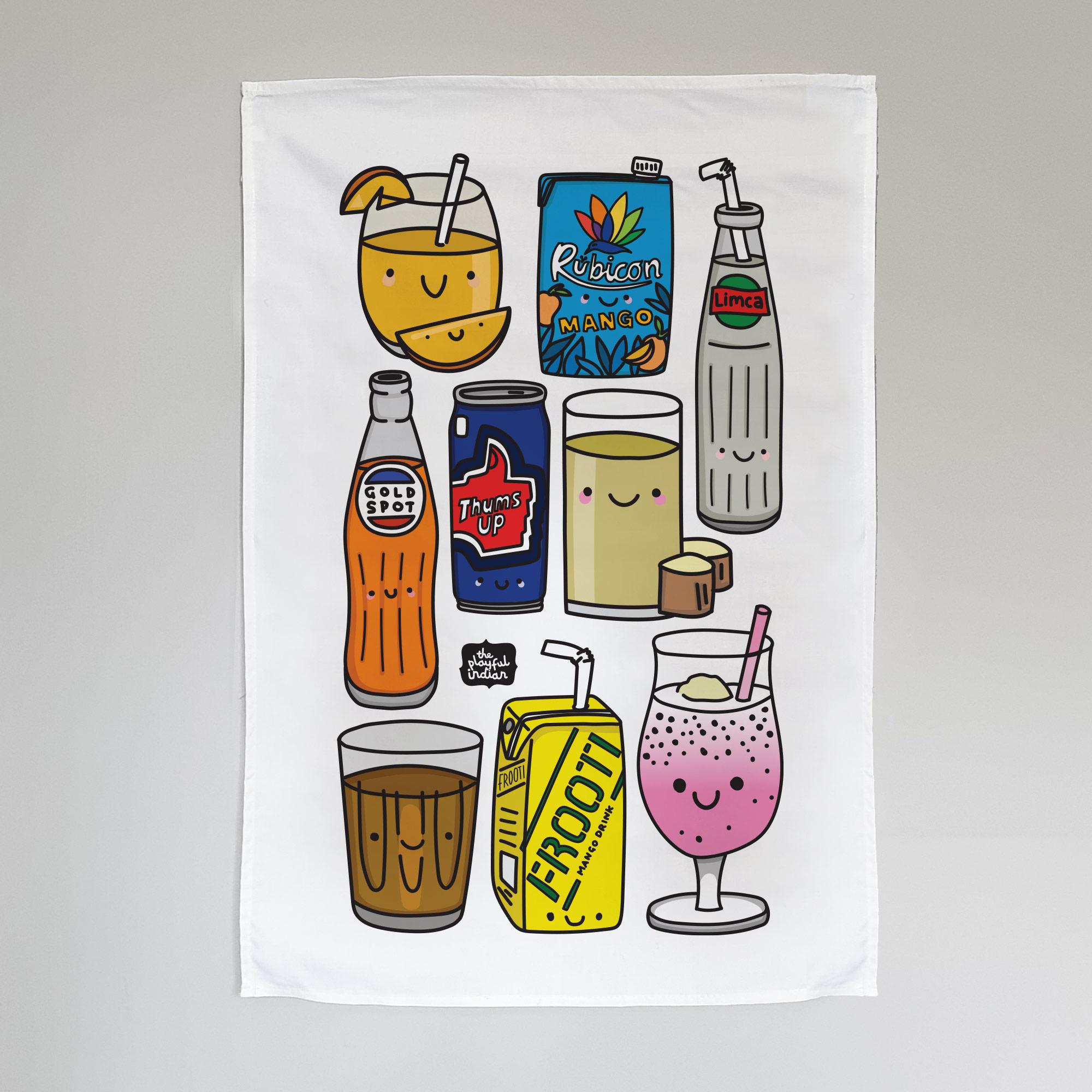 desi drinks tea towel