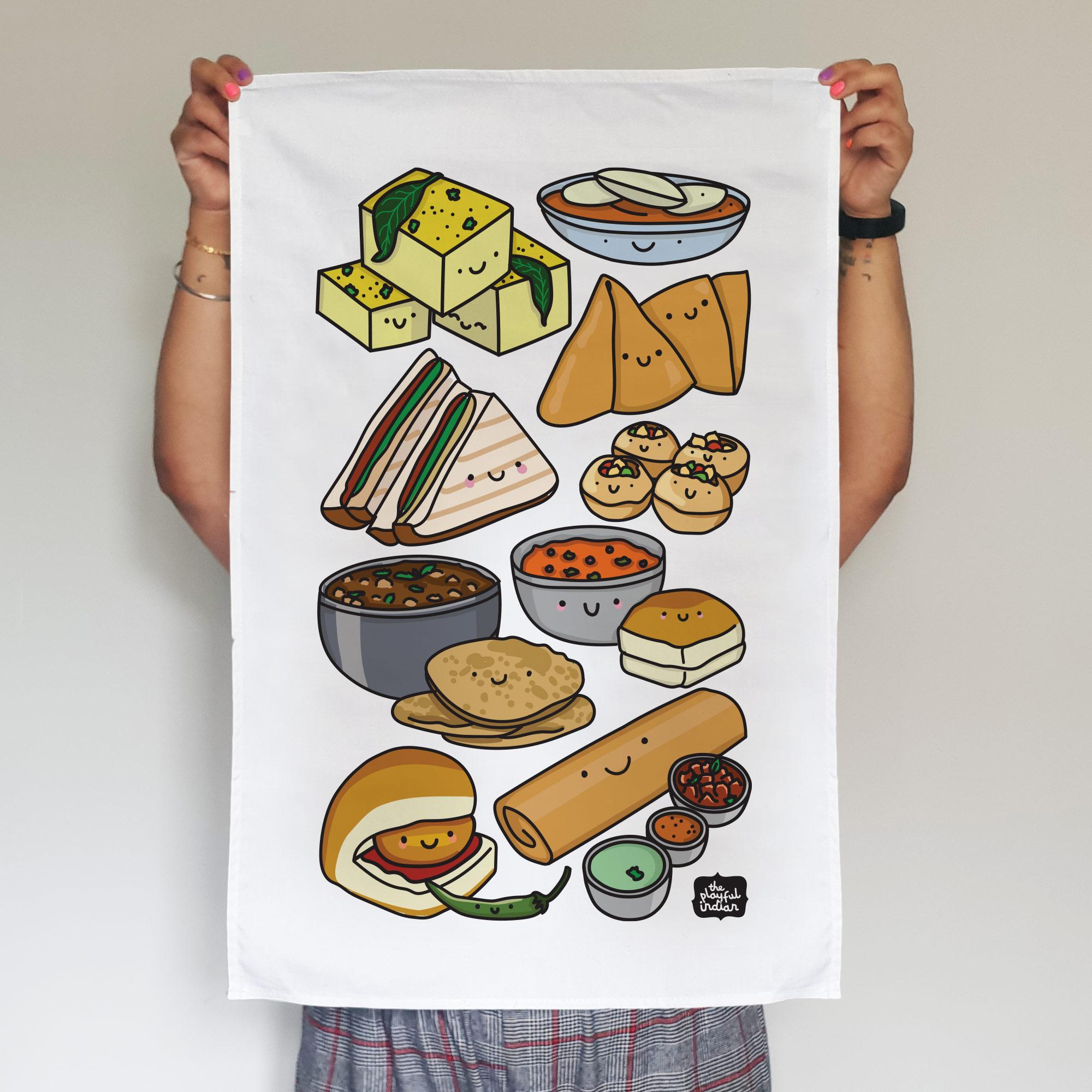 desi snacks tea towel