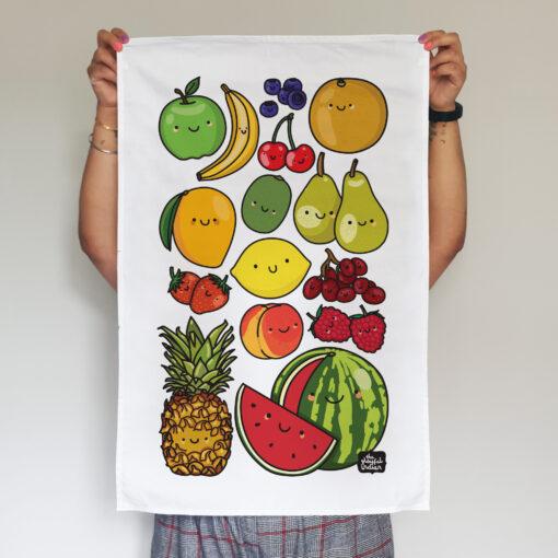 Happy Fruits tea towel