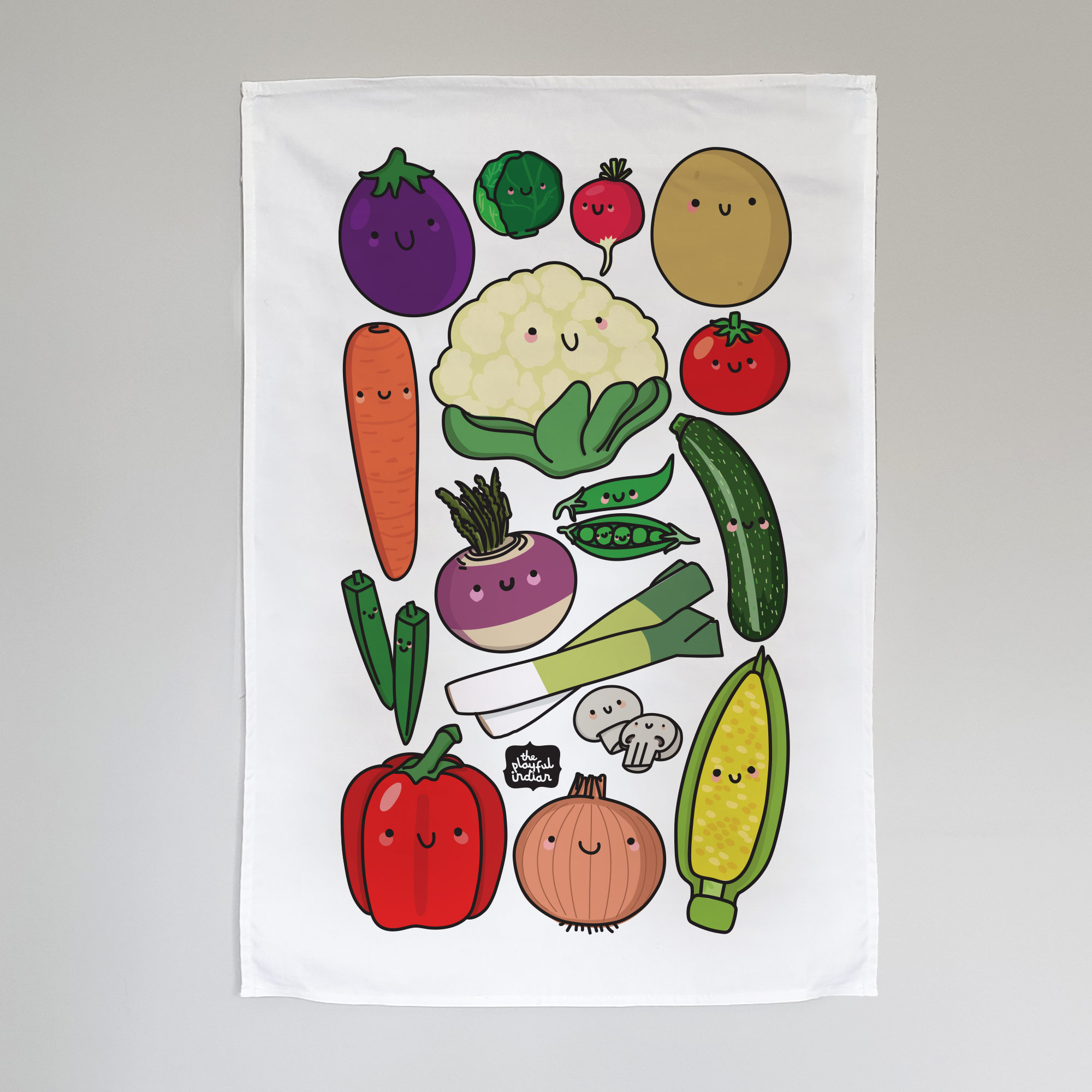 Happy veggies tea towel