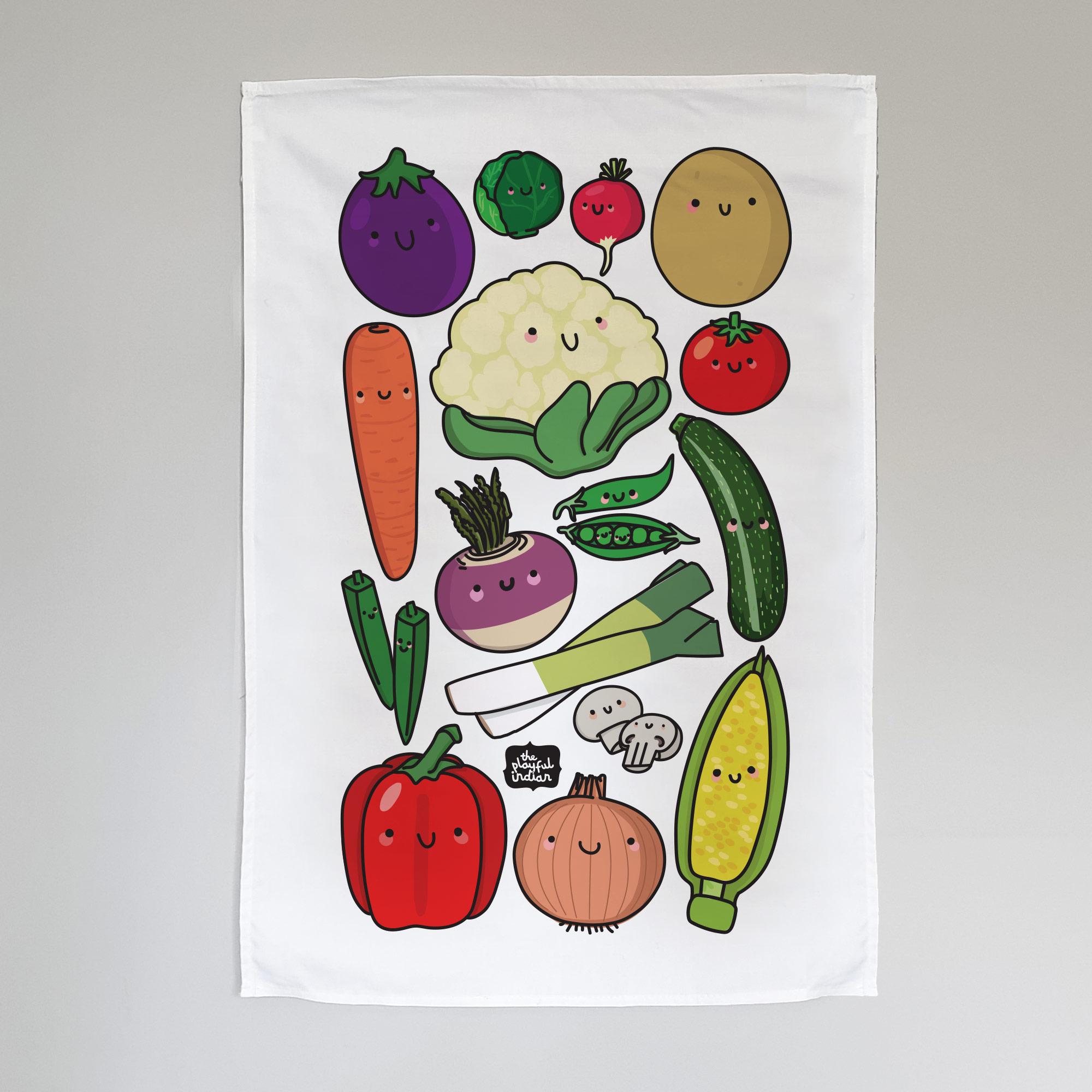 Happy veggies tea towel