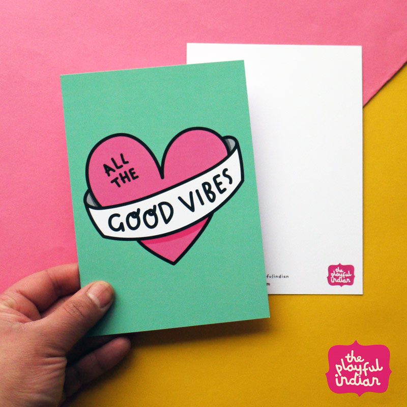 good vibes postcard