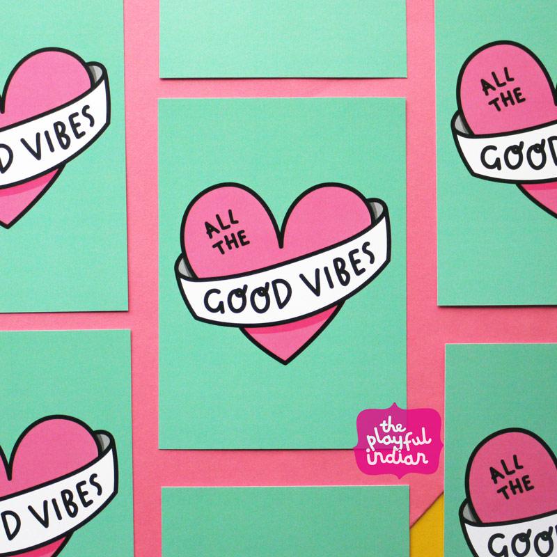 good vibes postcard