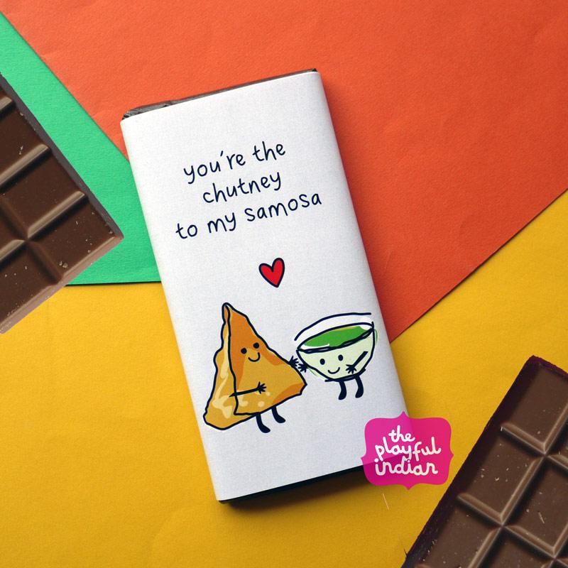 chutney to my samosa chocolate bar