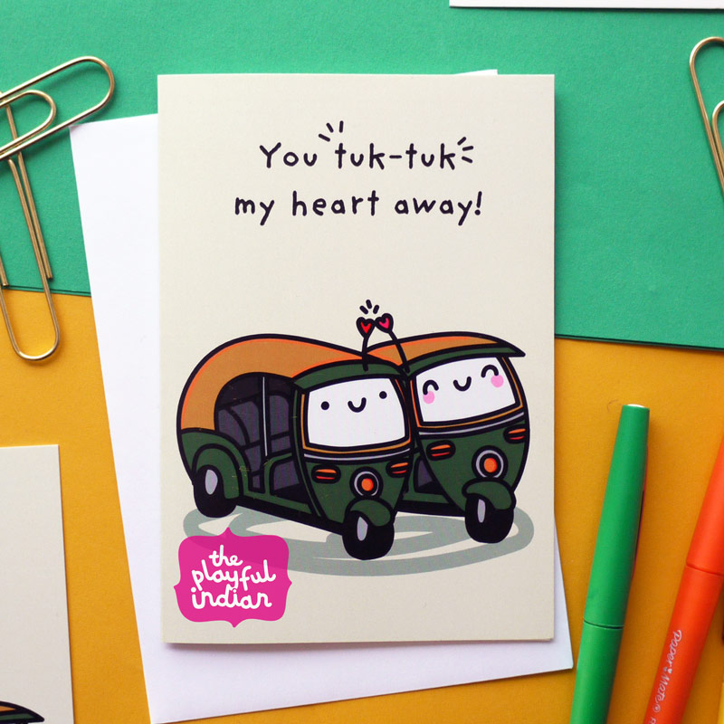 tuk tuk rickshaw greeting card