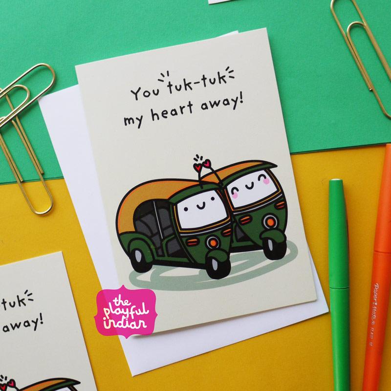 tuk tuk rickshaw greeting card