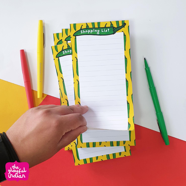 green chilli shopping list pad
