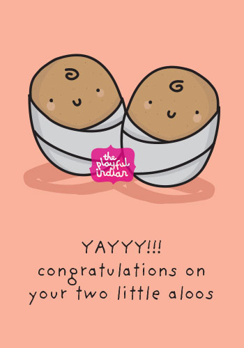 indian baby twins card