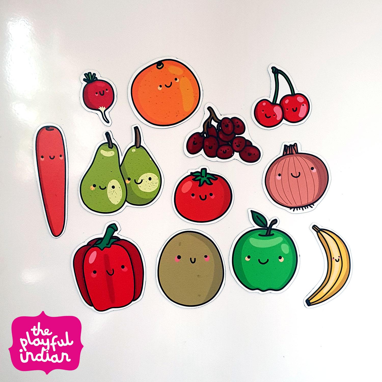 fruit and veg fridge magnets