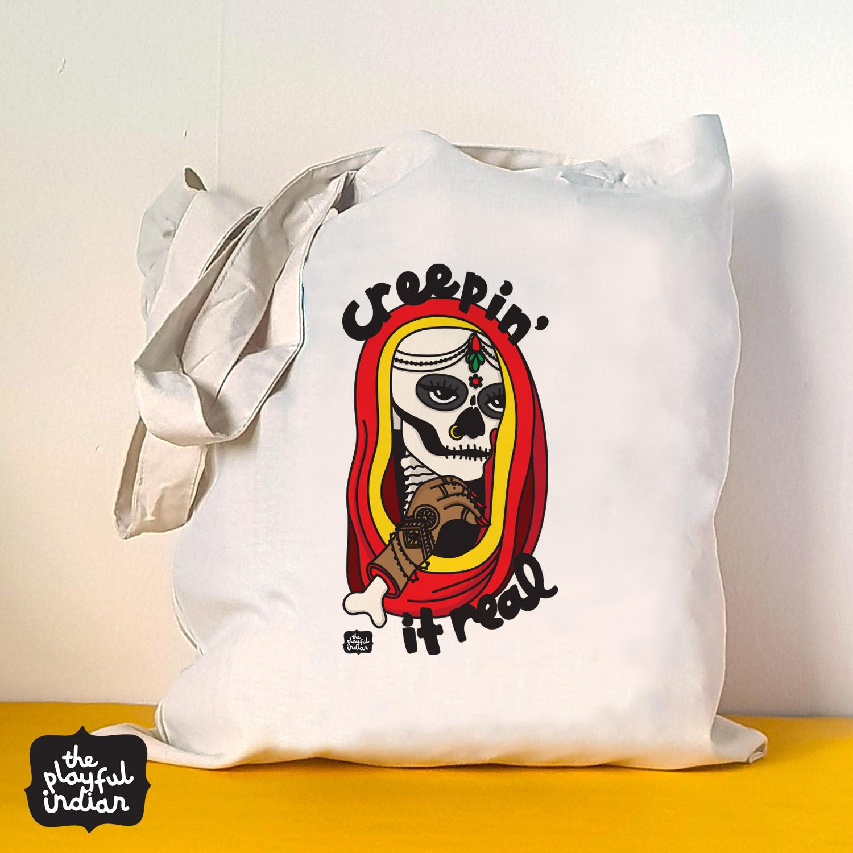 creepin ir real Halloween spooky tote bag
