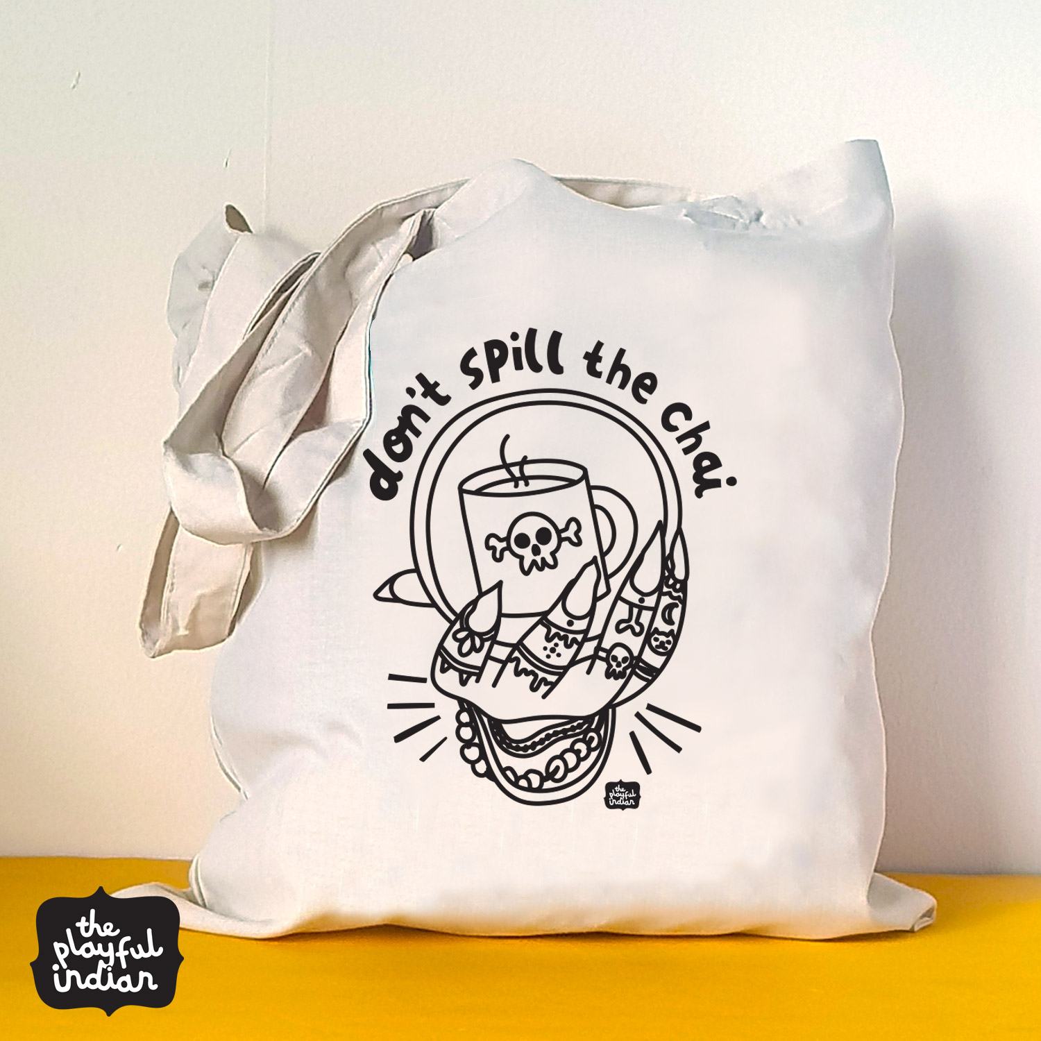 dont spill the chai halloween spooky tote bag